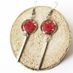 Boucles d'oreilles gloria rouge coquelicot bijoux fleur nature résine inclusion lanaflore bijoux végétal fleurs naturelles cadeau femme original