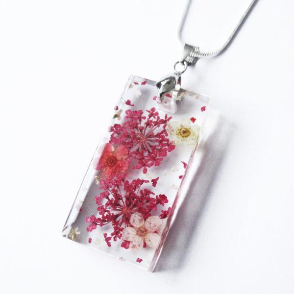 pendentif mila résine d'inclusion bijou nature fleurs naturelles cadeau floral collier végétal bijou nature femme argent sterling 925