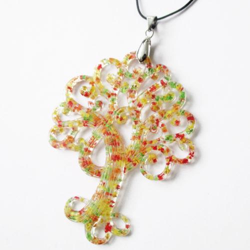pendentif arbre de vie collier nature résine d'inclusion bijoux végétal fleurs naturelles cadeau floral collier feuilles femme argent sterling 925