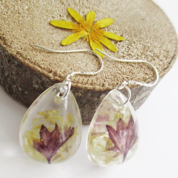 Boucles d'oreilles Télia fleurs des champs bijou nature bijoux fleurs en résine fleur sauvage anémone naturelle cadeau femme original en argent 925