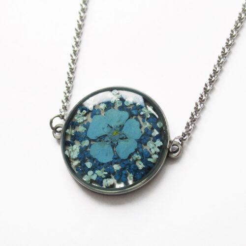 pendentif aqua océan fleurs bleues-résine d'inclusion bijou nature fleur naturelles cadeau floral collier végétal bijou nature femme argent sterling 925