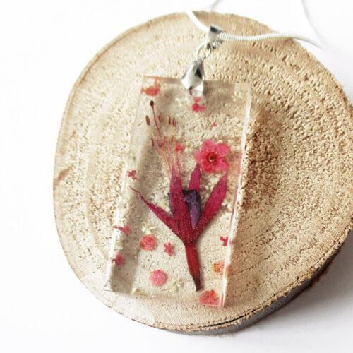 pendentif Fleur de Fuchsia fleur mauve et rose collier végétal résine d'inclusion bijoux nature fleurs naturelles cadeau floral femme argent sterling 925