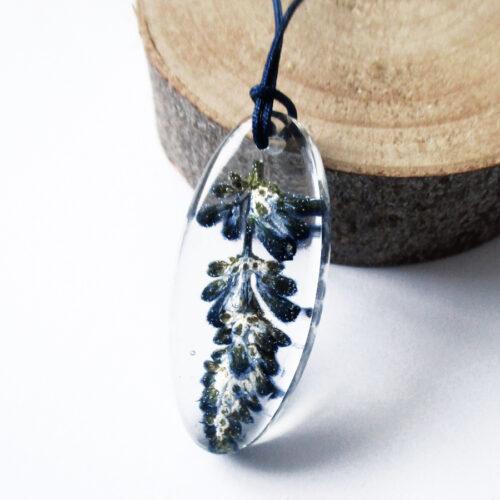 pendentif-lavande-fleur naturelle résine inclusion bijou nature bijoux végétal femme cadeau