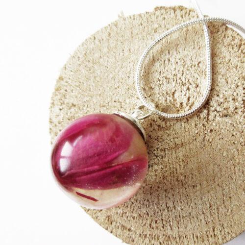 pendentif bulle de rose végétale collier pétale résine d'inclusion bijoux nature fleurs naturelles cadeau floral femme argent sterling 925