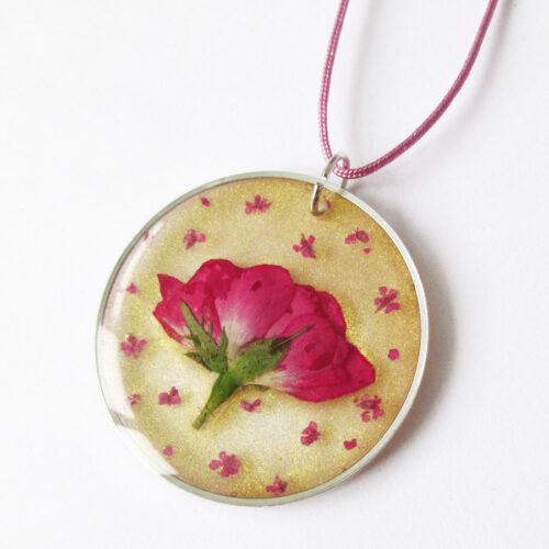 pendentif rose doré végétale collier pétale résine d'inclusion bijoux nature fleurs naturelles cadeau floral femme argent sterling 925